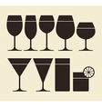 silhouette drinking glasses vector image vector image