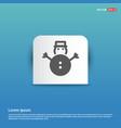snowman icon - blue sticker button vector image