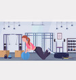 sporty woman doing crossfit exercises with vector image vector image