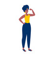 strong girl concept flexing arm for women power vector image