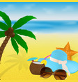 summertime vacation beach with sunglasses vector image vector image