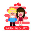two happy hearts in love biking vector image