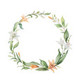 watercolor wreath orange lily flowers vector image vector image