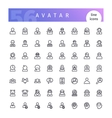 Avatar Line Icons Set vector image