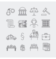 Law and justice thin line icons vector image