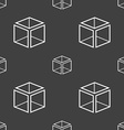 3d cube icon sign Seamless pattern on a gray vector image vector image