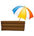 An empty signboard and an umbrella vector image vector image
