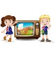 Australian girl and boy waving vector image