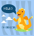 baby dragon with text hello banner vector image vector image