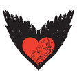 banner with red heart and black wings vector image