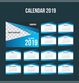 blue corporate desk calendar 2019 background vector image