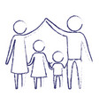 blurred blue silhouette of pictogram parents vector image vector image