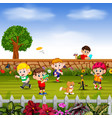 boys do sport and play together in yard vector image