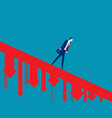 business person walking down falling arrow