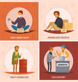 cartoon homeless people icon set vector image vector image