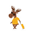 cheerful elk with suitcase going on vacation vector image