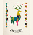 christmas and new year scandinavian deer card vector image vector image