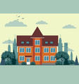 city landscape with townhouse and trees vector image