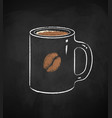 coffee cup isolated on black chalkboard vector image
