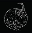 contour drawing of an evil pumpkin on a black vector image vector image