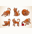 cute cartoon doodle red cat set nice pet drawings vector image