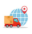 delivery service truck with planet vector image vector image