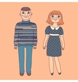 Drawn man and woman Young couple vector image vector image