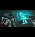 Fighting scene between my astral body and aliens vector image