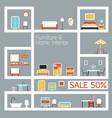 Furniture Flat Design on Shelf Display Frame vector image