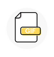 gif file format extension color line icon vector image vector image
