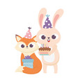 happy day fox rabbit with party hat cake and gift vector image vector image