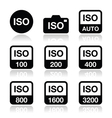 ISO - camera film speed standard icons set vector image vector image