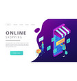 isometric online shopping and buying landing page vector image vector image