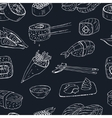 Japanese seafood sushi rolls seamless pattern with vector image