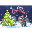 marry christmas tree and bull vector image vector image
