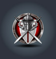 medieval warrior knight helm with shield and vector image