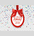 merry christmas and happy new year 2018 round vector image vector image