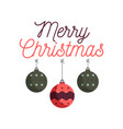 merry christmas emblem design with xmas balls toys vector image