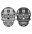Mexican black sugar skull with winter pettern vector image vector image