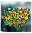 Mexico hand lettering and doodles elements emblem vector image