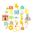 monetary wealth icons set cartoon style vector image vector image