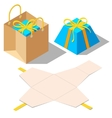 Opened and closed present gift boxes with ribbon vector image vector image