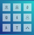 people icons line style set with lover walking vector image