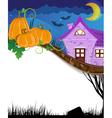 Pumpkins near the brick house vector image