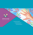 realistic mother and bahands composition vector image