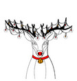 reindeer with big black horns and red collar with vector image vector image