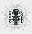 rock and roll stamp with guitar vector image