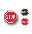 set icons stop sign vector image vector image