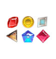 set of 6 glossy stones of different shapes vector image vector image