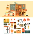 set of school related objects isolated on vector image
